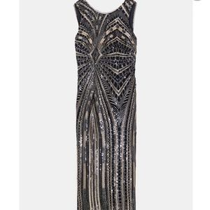 Zara sequin tube dress black gold beaded Medium